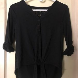 Black Button Down With Cutout Back Design